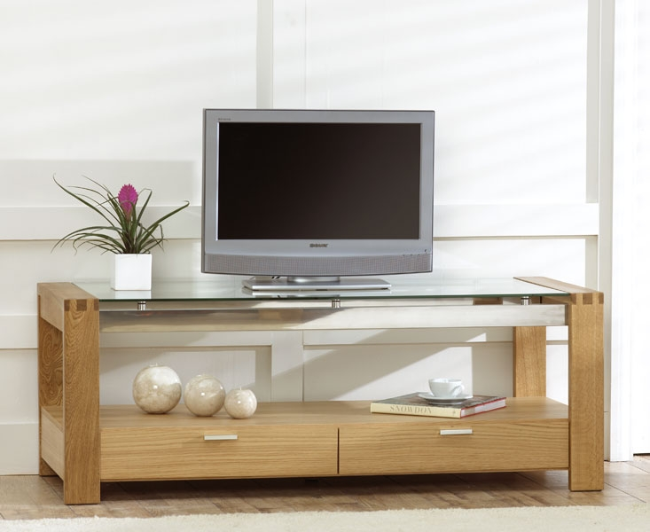 Impressive Widely Used Glass And Oak TV Stands Inside Vegas Solid Oak And Glass Living Room Furniture 2 Drawer Tv Unit (Image 21 of 50)