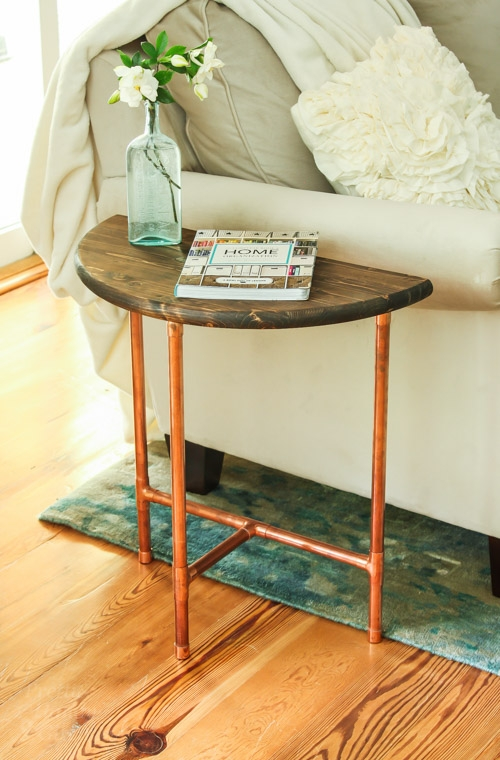 Impressive Widely Used Half Circle Coffee Tables For Half Round Copper Wood Side Table Pretty Handy Girl (View 23 of 40)