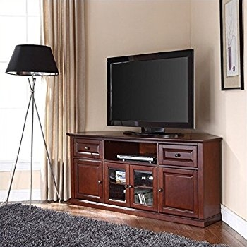 Impressive Widely Used Mahogany Corner TV Stands Pertaining To Amazon Homelegance Hayden 62 Rta Corner Tv Stand In (Image 25 of 50)