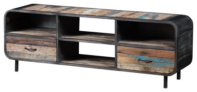 Impressive Widely Used Metal And Wood TV Stands Regarding Recycled Boat Wood And Metal Industrial Tv Unit Industrial (Image 30 of 50)