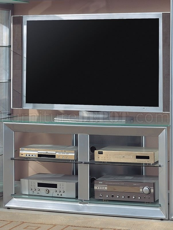 Impressive Widely Used Silver TV Stands For Color Contemporary Tv Stand Wglass Shelves (View 7 of 50)