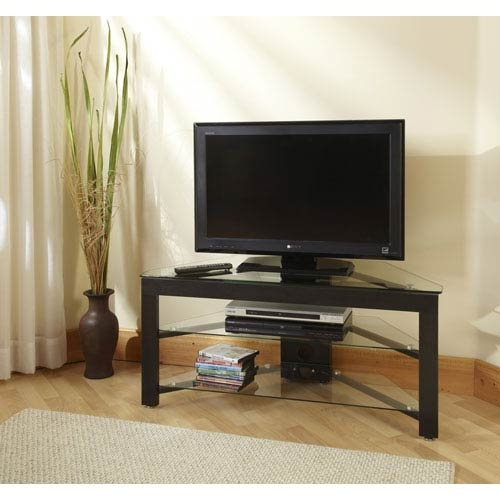 Impressive Widely Used Small Corner TV Stands With Regard To Small Black Corner Tv Stand Bellacor (View 7 of 50)