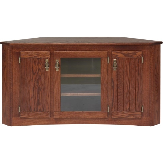 Impressive Widely Used Solid Wood Corner TV Cabinets Regarding Solid Oak Mission Style Corner Tall Tv Stand Wcabinet 55 The (Image 31 of 50)