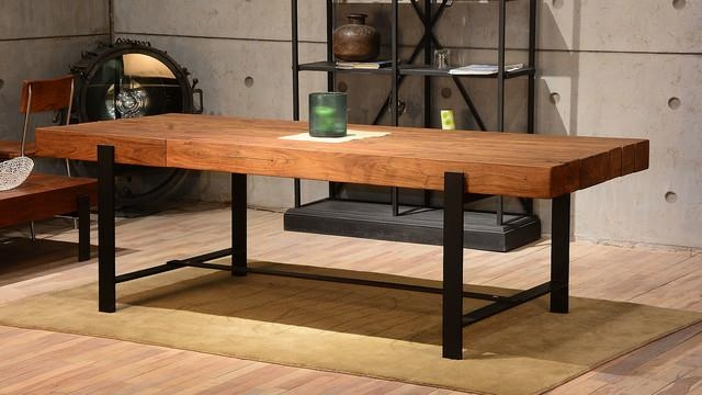 Industrial & Wood Modern Rustic Dining Table – Industrial – Dining Inside Rustic Dining Tables (View 8 of 20)