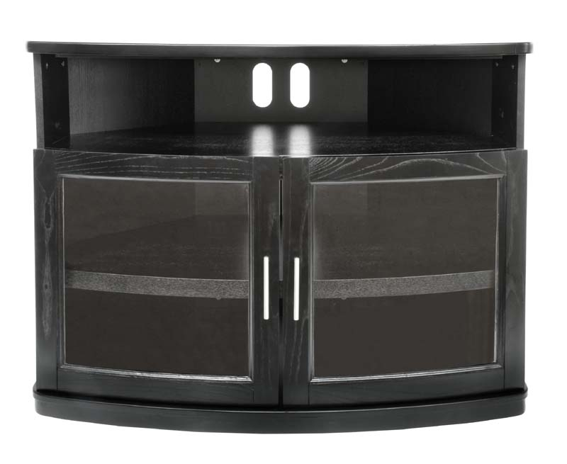 Innovative Best Black Corner TV Cabinets With Glass Doors Pertaining To Plateau Newport Series Corner Wood Tv Cabinet With Glass Doors For (Image 26 of 50)