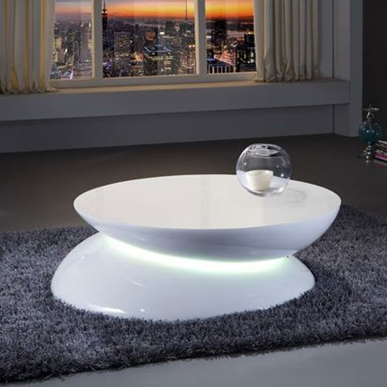 Helix Coffee Table In White High Gloss With Led Light 24168