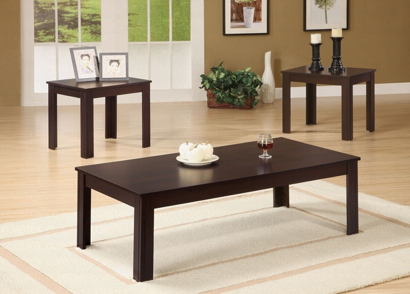 Innovative Best Dark Brown Coffee Tables For Korina Dark Brown 3 Piece Coffee End Table Set Coffee Table (View 23 of 50)