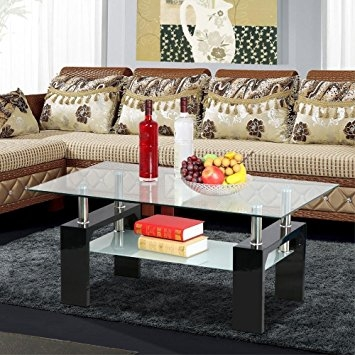 Innovative Best Rectangle Glass Chrome Coffee Tables Throughout Amazon Yaheetech Living Room Rectangular Glass Top Coffee (Image 34 of 50)