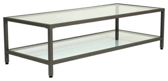 Innovative Best Rectangle Glass Coffee Table With Studio Design Home Camber Rectangle Coffee Table Pewter Clear (View 13 of 50)
