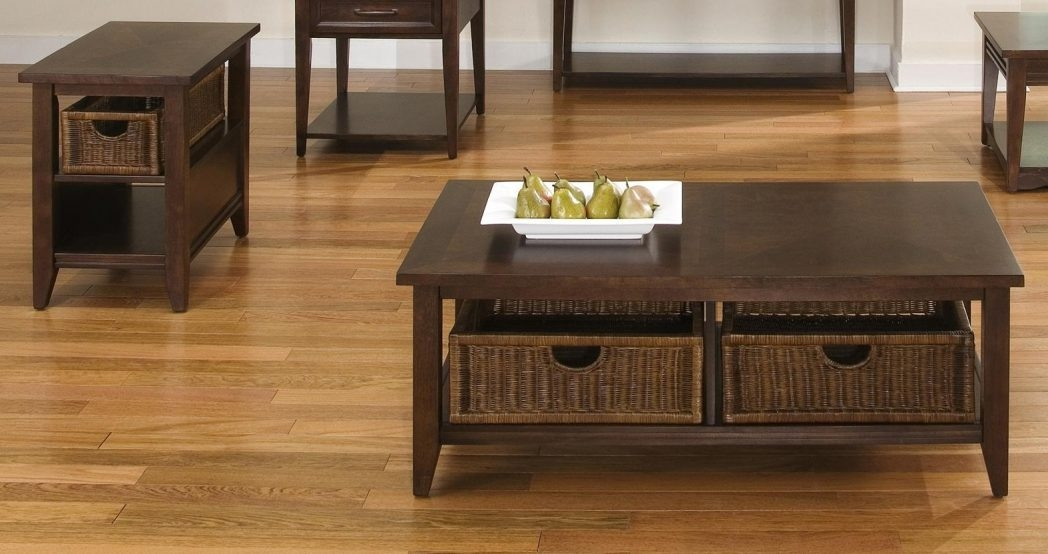 Innovative Brand New Coffee Tables With Baskets Underneath Pertaining To Side End Coffee Table Stand Wooden Storage 3 Baskets Furniture (Image 22 of 40)