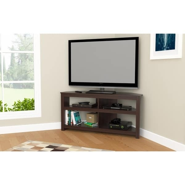Innovative Brand New Contemporary Corner TV Stands Inside Inval Contemporary Espresso Corner Tv Stand Free Shipping Today (Image 32 of 50)