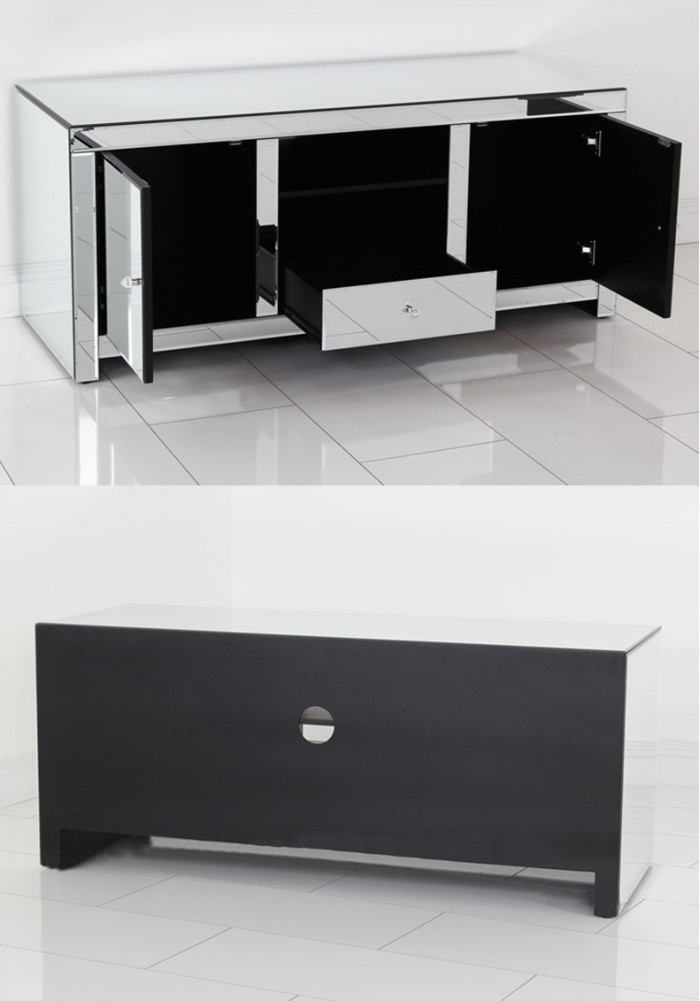 Innovative Brand New Mirror TV Cabinets Throughout Daisey Mirrored Tv Cabinet 135cm (Image 30 of 50)