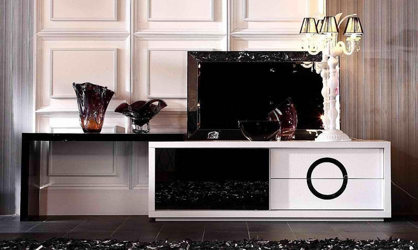 Innovative Brand New Modern White Lacquer TV Stands Throughout Contemporary White And Black Crocodile Texture And Lacquer Tv (Image 28 of 50)