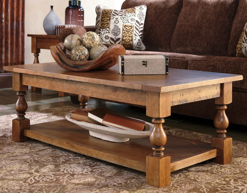 Innovative Brand New Quality Coffee Tables Intended For Coffee Table Casual Rustic Wood Coffee Table With Bottom Shelf (Image 27 of 50)