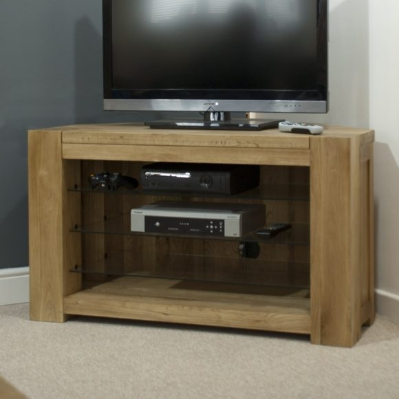 Innovative Brand New Solid Wood Corner TV Cabinets Pertaining To Furniture Oak Wood Media Cabinet With Tv Stand And Open Shelf (Image 33 of 50)