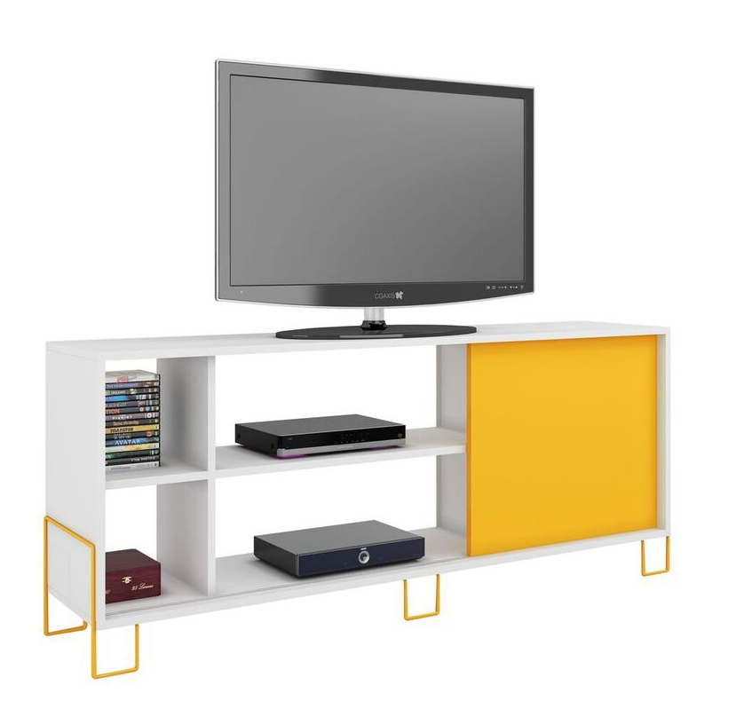 Innovative Brand New Yellow TV Stands For Nacka Tv Stand 20 White And Yellow Manhattan Comfort Modern (View 9 of 50)