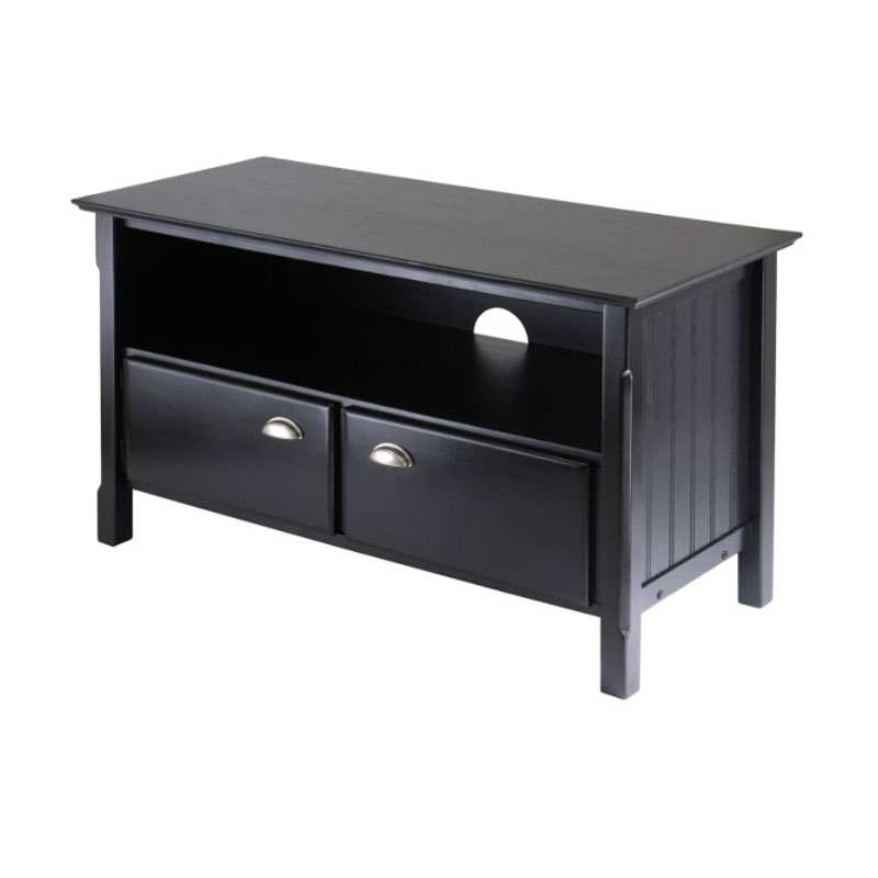Innovative Common 32 Inch TV Stands Within Winsome Wood Timber Tv Stand For 32 60 Inch Screens Matte Black  (Image 29 of 50)