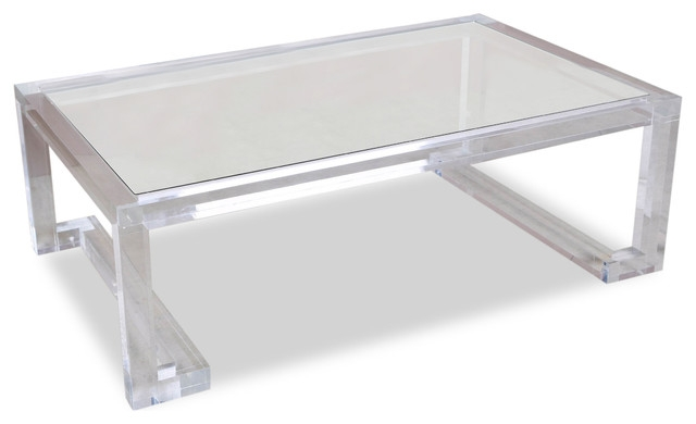 Innovative Common Ava Coffee Tables Throughout Ava Hollywood Regency Modern Glass Acrylic Coffee Table (View 4 of 50)