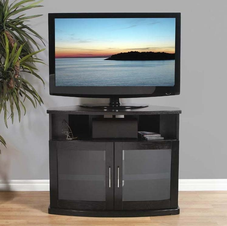 Innovative Common Black Corner TV Cabinets For Plateau Newport Series Corner Wood Tv Cabinet With Glass Doors For (View 22 of 50)