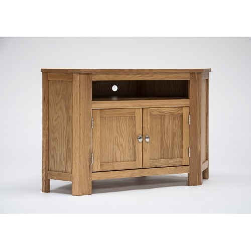 Innovative Common Corner Oak TV Cabinets Throughout Lansdown Oak Corner Tv Cabinet With Cupboard (View 4 of 50)