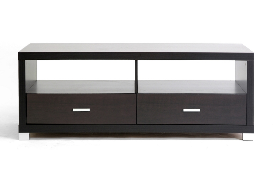 Innovative Common Dark Wood TV Stands Pertaining To Baxton Studio Derwent Modern Tv Stand W Drawers (View 44 of 50)