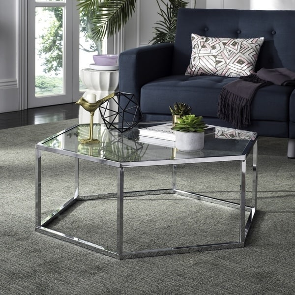 Innovative Common Glass And Chrome Coffee Tables In Safavieh Eliana Glass Chrome Coffee Table Free Shipping Today (Image 30 of 50)