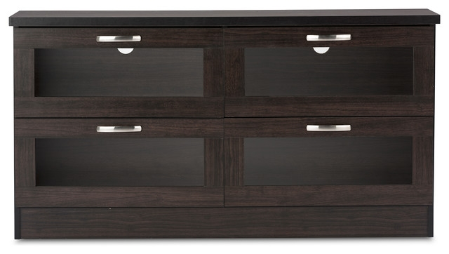 Innovative Common Glass TV Cabinets With Doors Within Adelino Wood Tv Cabinet With 4 Glass Doors Dark Brown  (Image 27 of 50)