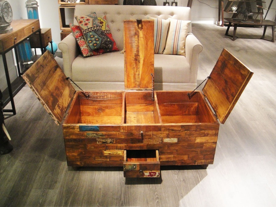 Innovative Common Hardwood Coffee Tables With Storage With Coffee Table With Storage Coffee Table Trunk Refinished Tool (View 16 of 50)