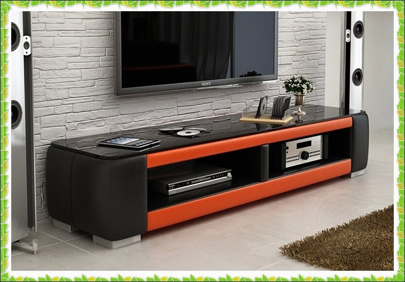 Innovative Common Luxury TV Stands For Online Shop Luxury Black Orange Leather Tv Stands Hot Selling (Image 32 of 50)