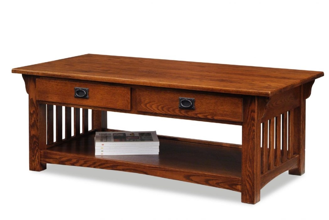 Innovative Common Oak Coffee Tables With Shelf Within Lighthouse Woodworking Round Mission Oak Coffee Table Thippo (Image 25 of 40)