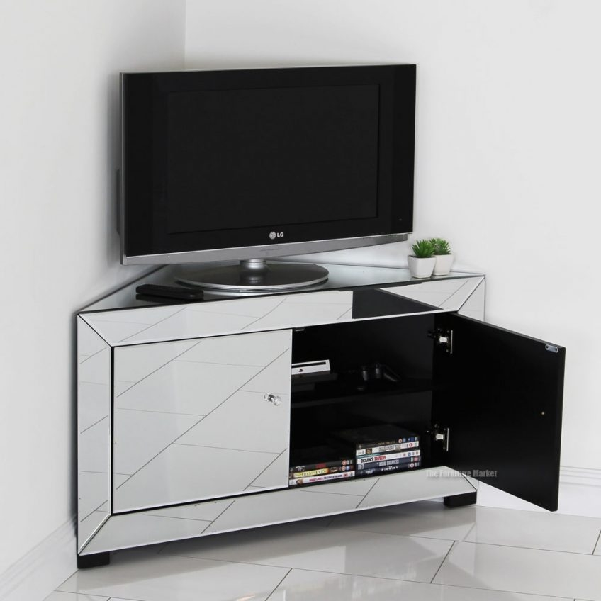 Innovative Common Silver Corner TV Stands For Mirrored Flat Screen Tv Harpsoundsco (Image 38 of 50)
