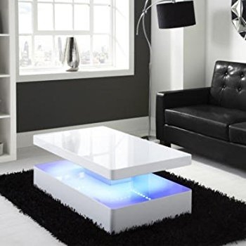 Innovative Common White High Gloss Coffee Tables Regarding Tason Modern Design 3 Tier High Gloss Coffee Table 360 Rotatable (Image 32 of 50)