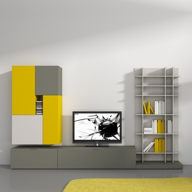 Innovative Common Yellow TV Stands For Tv Stands Outstanding Modern Bookcase Tv Stand Combo Photo (View 11 of 50)