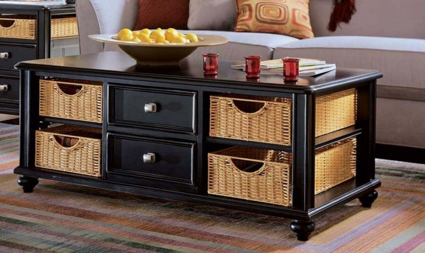 Innovative Deluxe Black Coffee Tables With Storage Regarding Black Coffee Table With Storage Drawers Decoration Ideas For (Image 27 of 40)