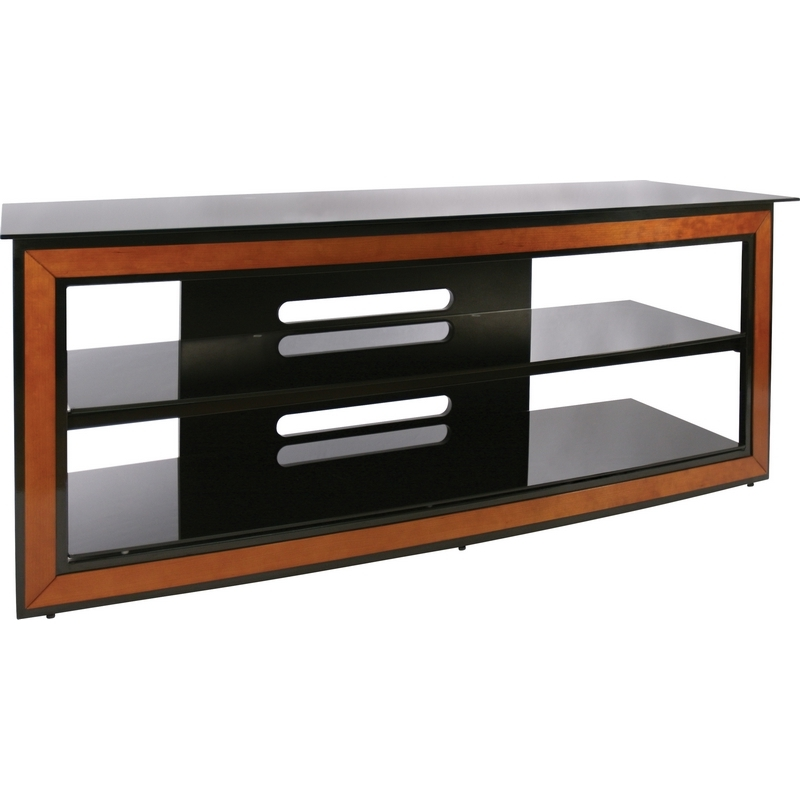 Innovative Deluxe Cherry Wood TV Stands Within Bello Avsc2126 62 Contemporary Flat Panel Glass Tv Stand In Black (Image 32 of 50)