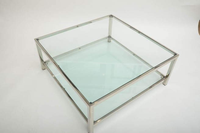 Innovative Deluxe Chrome Glass Coffee Tables Pertaining To Square Glass Chrome Coffee Table (Image 36 of 50)