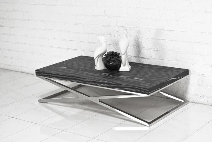 Innovative Deluxe Coffee Tables With Chrome Legs Intended For Wwwroomservicestore Black Macassar Chrome X Leg Coffee Table (Image 34 of 50)