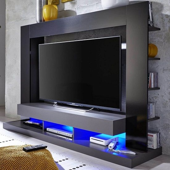 Innovative Deluxe Gloss TV Stands In Stamford Entertainment Unit In Black Gloss Fronts With Shelving (Image 36 of 50)