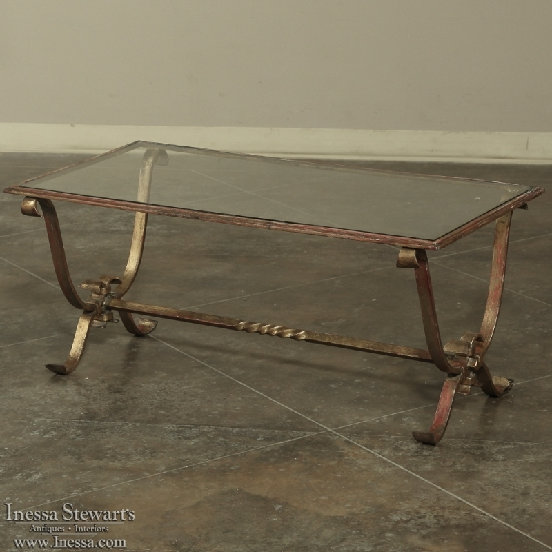 Innovative Deluxe Iron Glass Coffee Table Intended For Antique Wrought Iron Glass Coffee Table Inessa Stewarts Antiques (View 13 of 50)