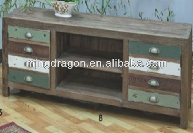 Innovative Deluxe Rustic Wood TV Cabinets Intended For Chinese Antique Rustic Recycle Wood Tv Stand Cabinet Buy Chinese (View 45 of 50)