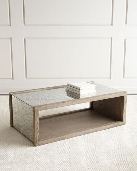 Innovative Deluxe Vintage Mirror Coffee Tables Throughout Antique Mirrored Waterfall Coffee Table (Photo 35 of 40)