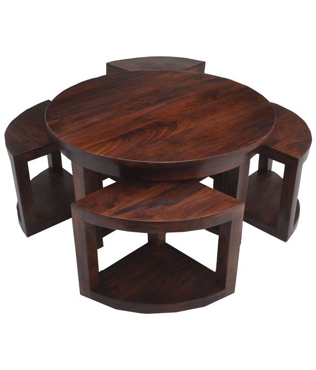 Innovative Elite Coffee Tables With Nesting Stools Inside Table 4 Nested Image