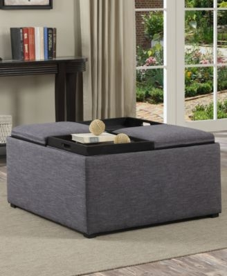 Innovative Elite Fabric Coffee Tables With Regard To Simpli Home Avalon Fabric Coffee Table Storage Ottoman Direct (View 28 of 50)