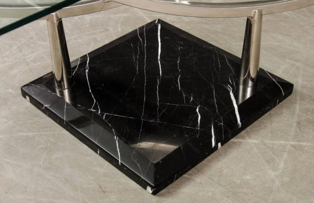Innovative Elite Glass And Stone Coffee Table Inside Two Tiered Glass Coffee Table With A Chrome Frame Stone Base For (Image 27 of 50)