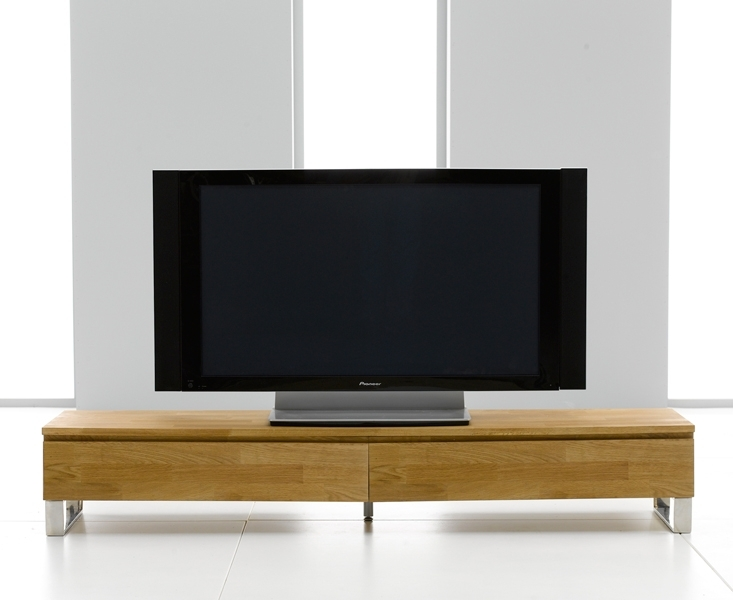 Innovative Elite Long Oak TV Stands With Regard To Roseta Oak Chrome Tv Unit Oak Furniture Solutions (View 43 of 50)
