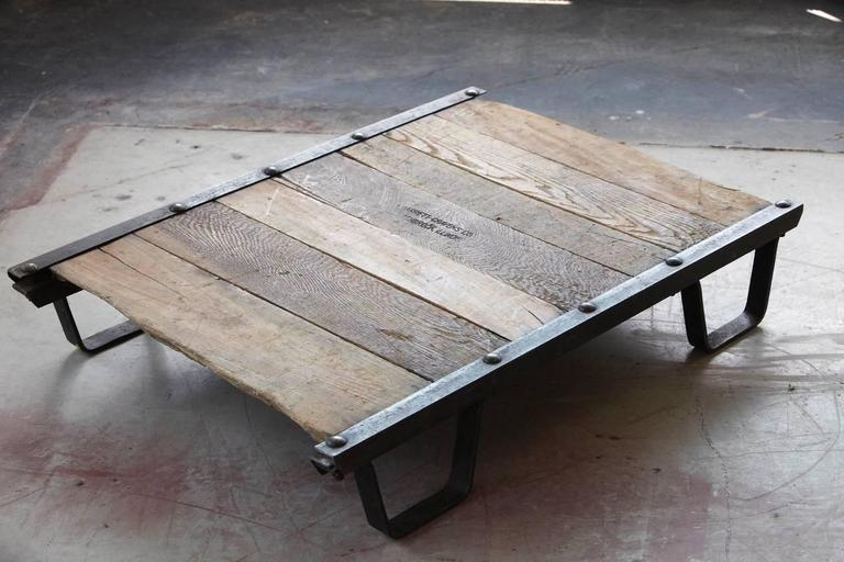 Innovative Elite Low Industrial Coffee Tables Pertaining To Vintage Industrial Steel And Wood Skid Platform Low Coffee Table (Image 24 of 40)