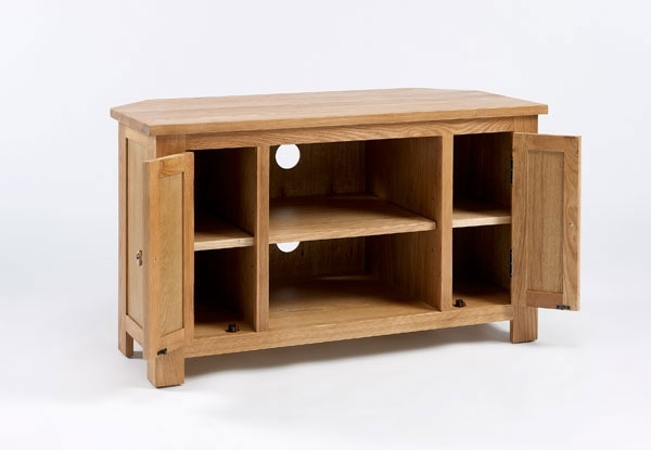 Innovative Elite Oak Corner TV Cabinets Regarding Essential Oak Corner Tv Unit Hampshire Furniture (Image 25 of 50)