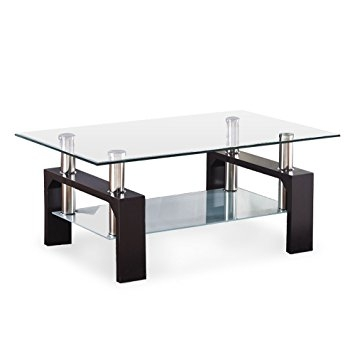 Innovative Elite Rectangle Glass Chrome Coffee Tables Inside Amazon Virrea Rectangular Glass Coffee Table Shelf Wood (View 11 of 50)