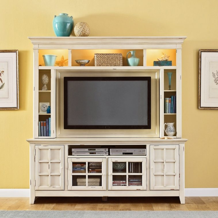 Innovative Famous Big TV Stands Furniture With Regard To Furniture Cream Wooden Entertainment Center With Storage And (Image 28 of 50)
