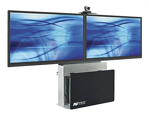 Innovative Famous Dual TV Stands Intended For This Tv Stand Holds Two Flat Panel Monitors On The Steel Mount (Image 29 of 50)